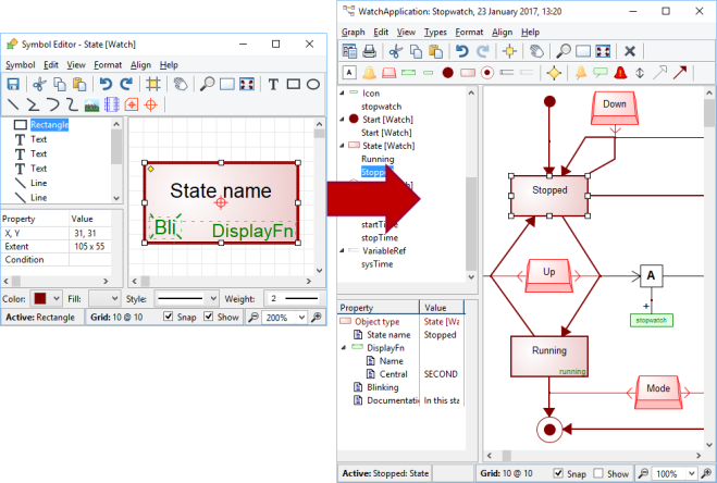 MetaEdit+ allows you to define or import own symbols for dedicated modeling. Make the graphical symbols relate to your product-domain.